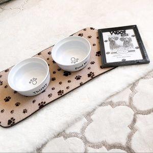 Dog Puppy Bowls, Paw Mat & Picture Frame Bundle